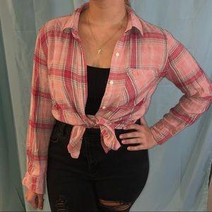 Pink Plaid Button Down Shirt